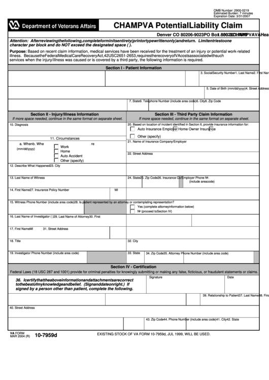Va Form 10 7959d Champva Potential Liability Claim Printable Pdf