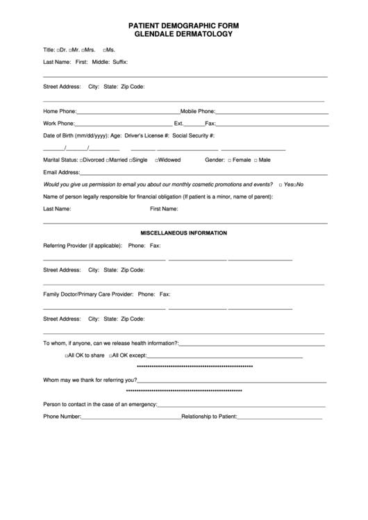 Patient Demographic Form printable pdf download