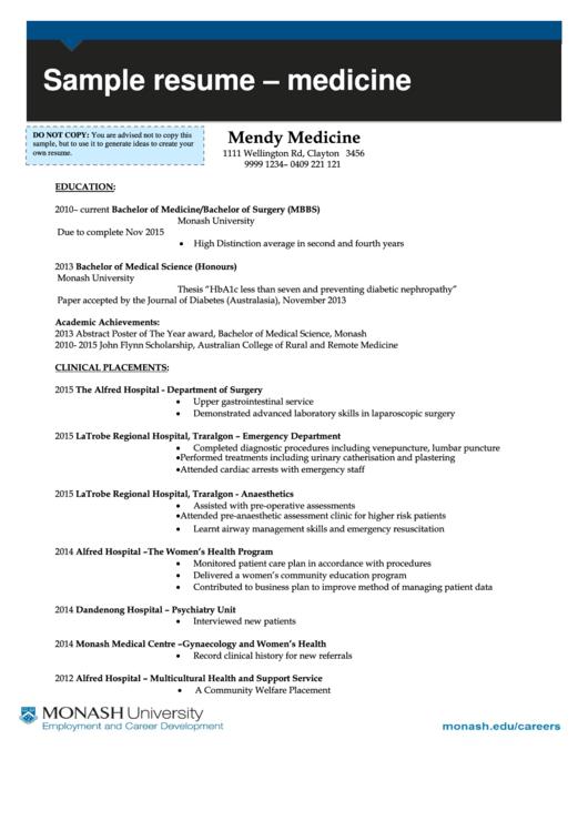 Sample Resume - Medicine Printable pdf