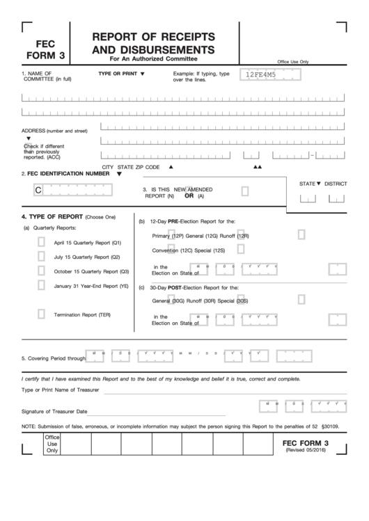 Fec Form 3 - Report Of Receipts And Disbursements