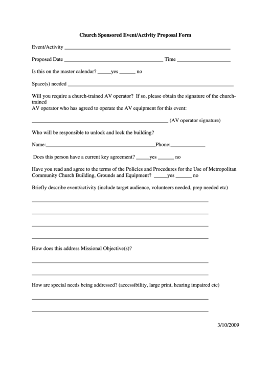 Church Sponsored Event/activity Proposal Form