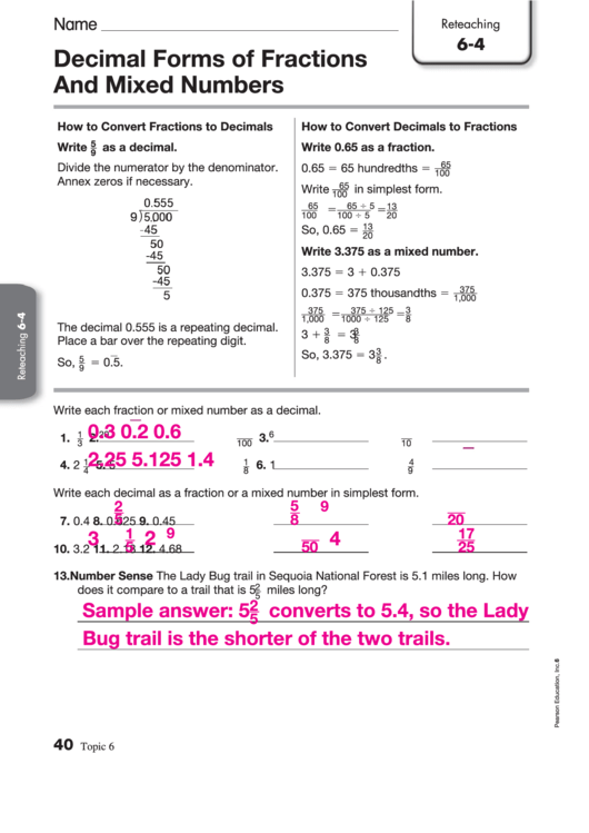 Decimal Forms Of Fractions And Mixed Numbers Worksheet Printable Pdf  Download