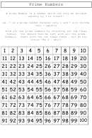 Prime Numbers Chart Template