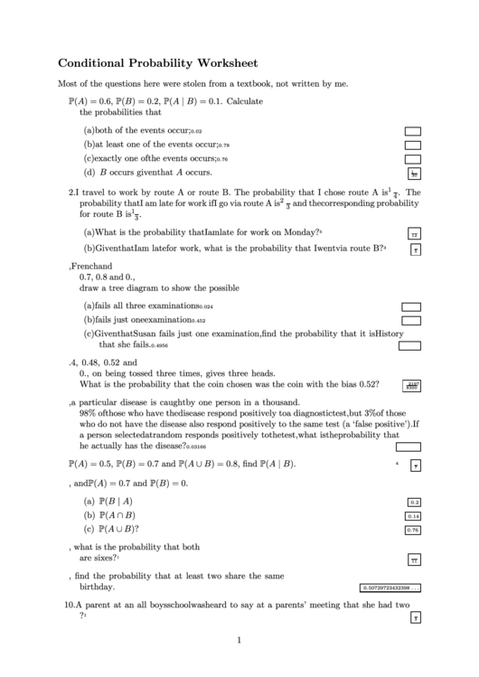 Conditional Probability Worksheet Printable Pdf Download