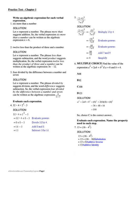 Algebraic Expression Worksheet Printable Pdf Download