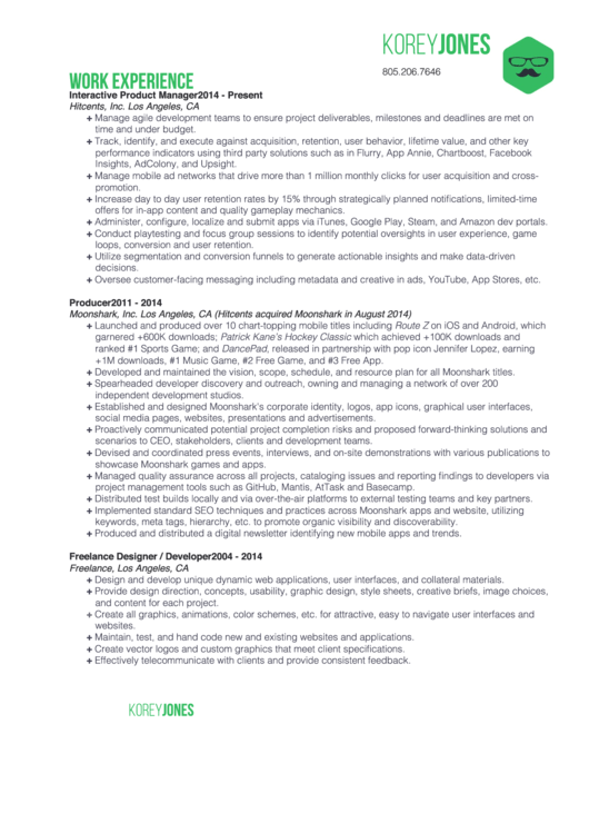 Cv Sample Interactive Product Manager Printable pdf
