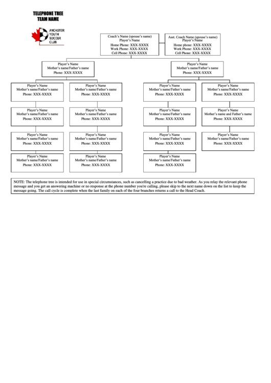 Phone Tree Template Printable pdf