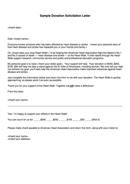 Sample Donation Solicitation Letter Printable pdf