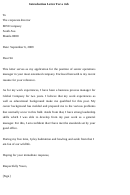 Introduction Letter For A Job