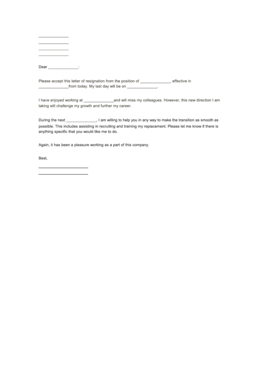 Fillable Formal Resignation Letter Template Printable pdf