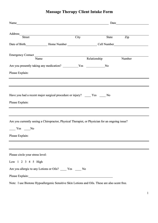 Massage therapy client intake form printable pdf download for Psychotherapy intake form template