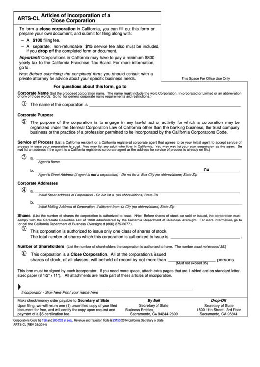 Fillable Form Arts-Cl - Articles Of Incorporation Of A Close Corporation Printable pdf