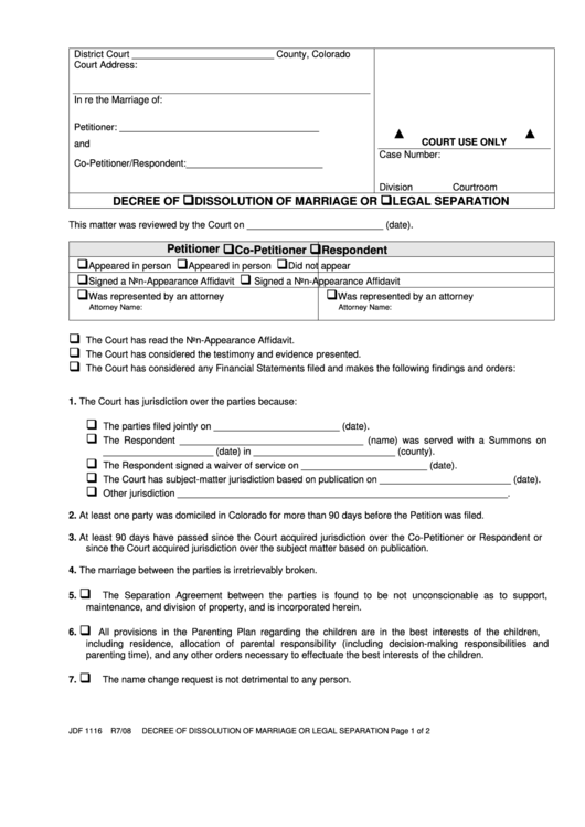 Fillable Decree Of Dissolution Of Marriage Printable pdf