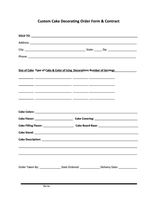 custom cake decorating order form  u0026 contract printable pdf