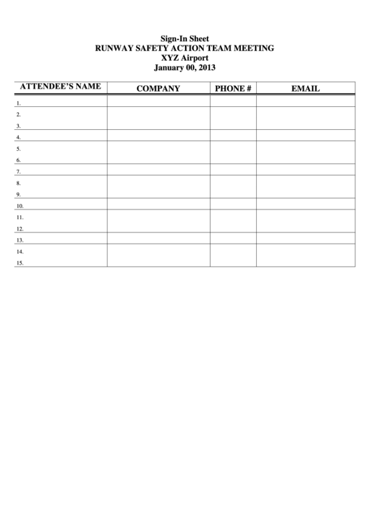 top 7 safety meeting sign in sheets free to download in pdf format