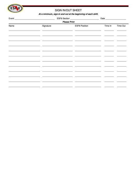 Event Sign In/out Sheet Template