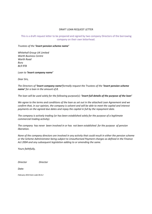 Sample Draft Loan Request Letter Template