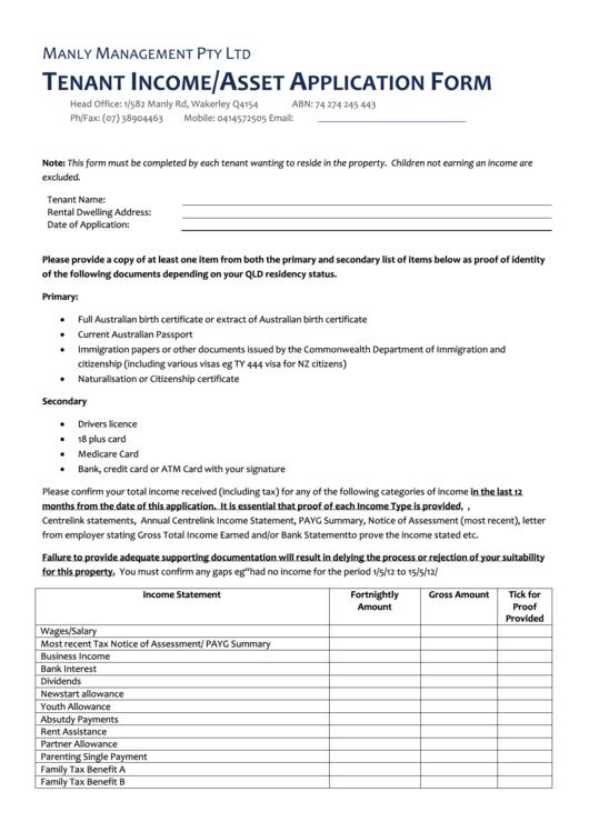 Tenant Income Asset Application Form