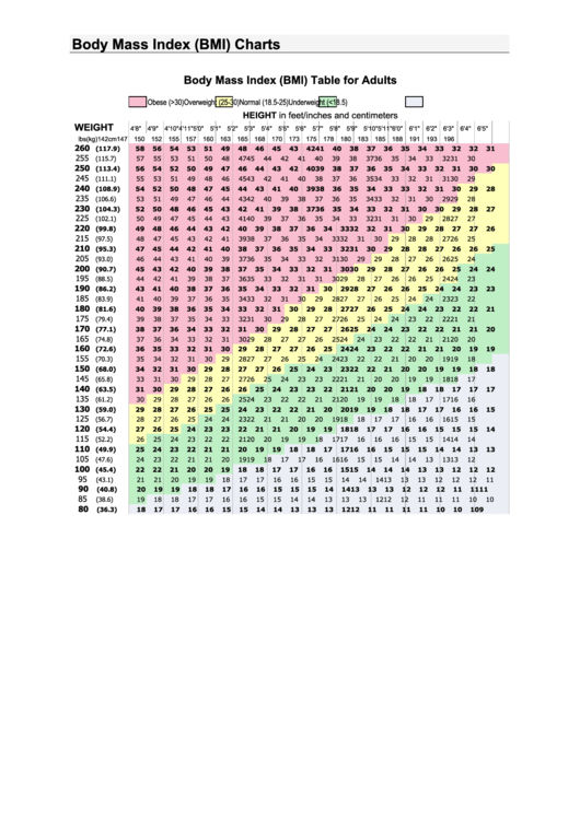 Fillable Body Mass Index Charts Printable pdf