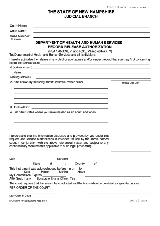 Nhjb-2171-fp - Department Of Health And Human Services Record Release Authorization
