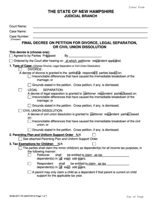 Fillable Final Decree On Petition For Divorce Legal Separation Or Civil Union Dissolution Printable pdf