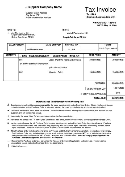 tax invoice template  sample  printable pdf download