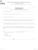 Form Fpc - Foreign Application For Transfer Of Authority - The Commonwealth Of Massachusetts