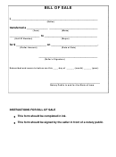 Bill Of Sale Form - State Of Iowa