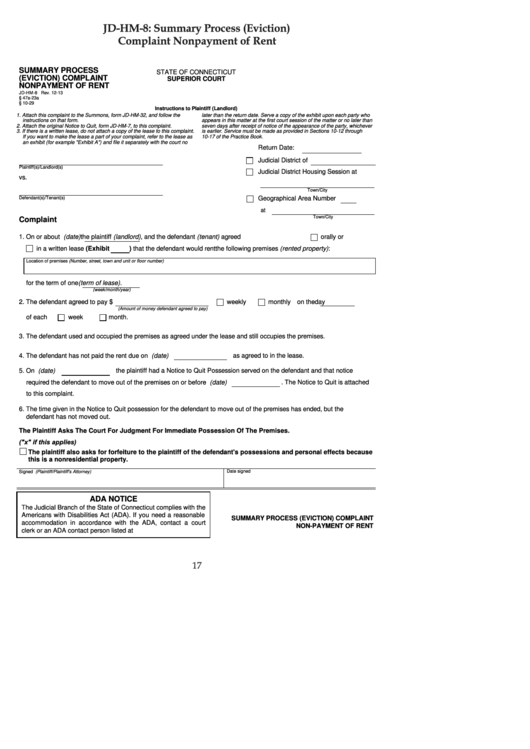 Complaint Nonpayment Of Rent Form - State Of Connecticut Superior Court
