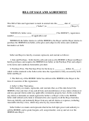 Bill Of Sale And Agreement Template