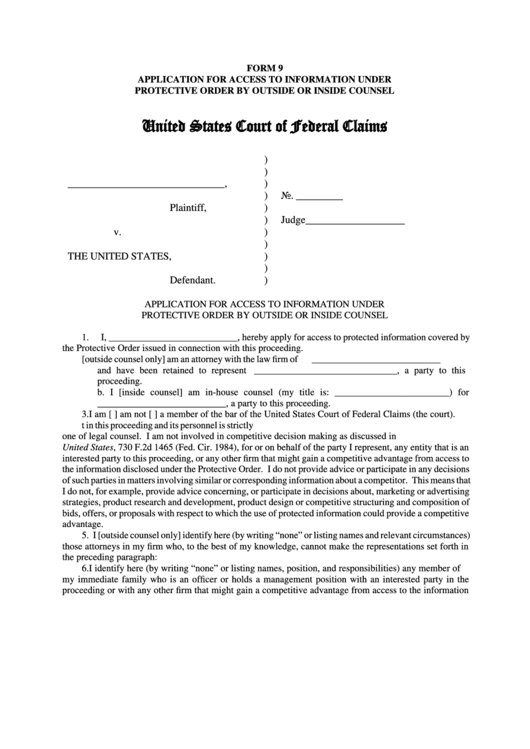 Fillable Form 9 - Application For Access To Information Under Protective Order By Outside Or Inside Counsel - To The United States Court Of Federal Claims Printable pdf