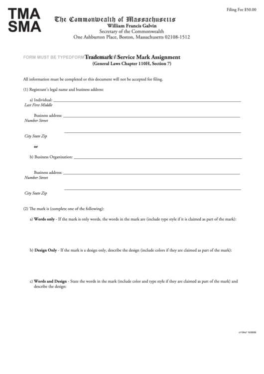 Trademark Assignment Form Trademark Assignment Form ...