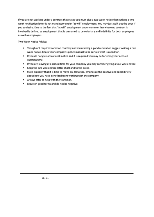 Two Week Notice Resignation Letter Template