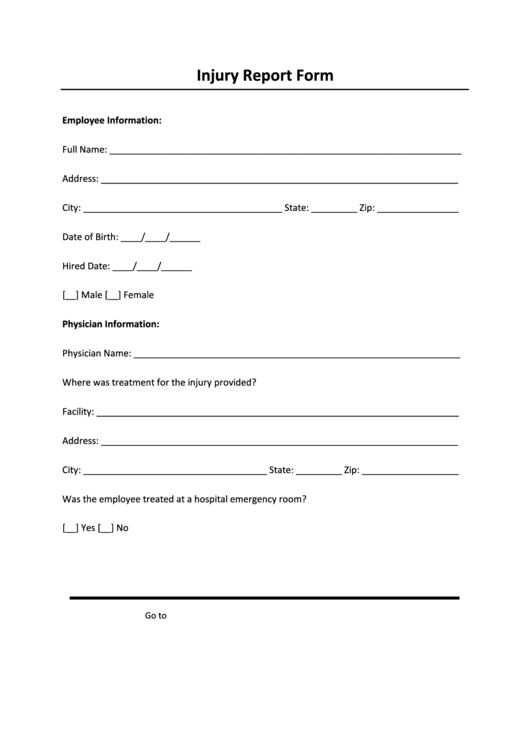 sharps injury log template - injury report form printable pdf download