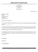 Retirement Farewell Letter Template