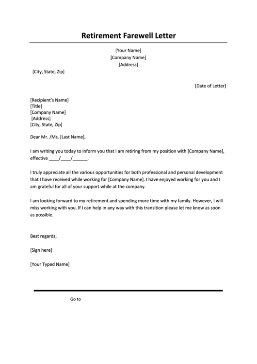 Retirement Farewell Letter Template