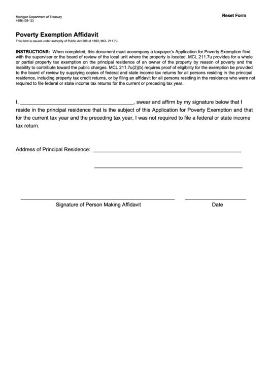 Fillable Poverty Exemption Affidavit printable pdf download