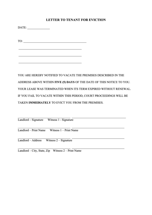 Letter To Tenant For Eviction Template