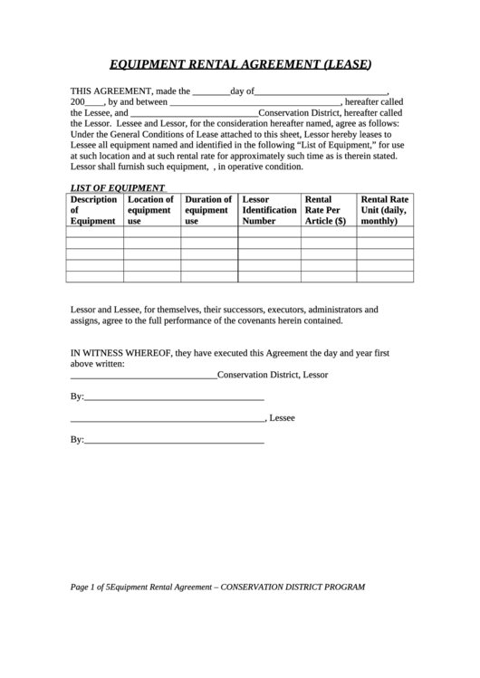 Equipment Rental Agreement (lease) Template