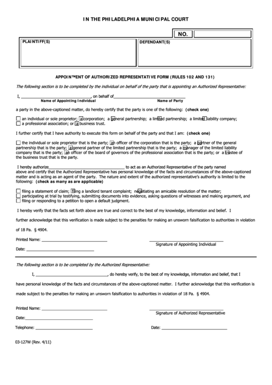 Fillable Appointment Of Authorized Representative Form (Rules 102 And 131) - Philadelphia Municipal Court Printable pdf