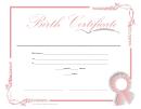 Birth Certificate Template - Pink