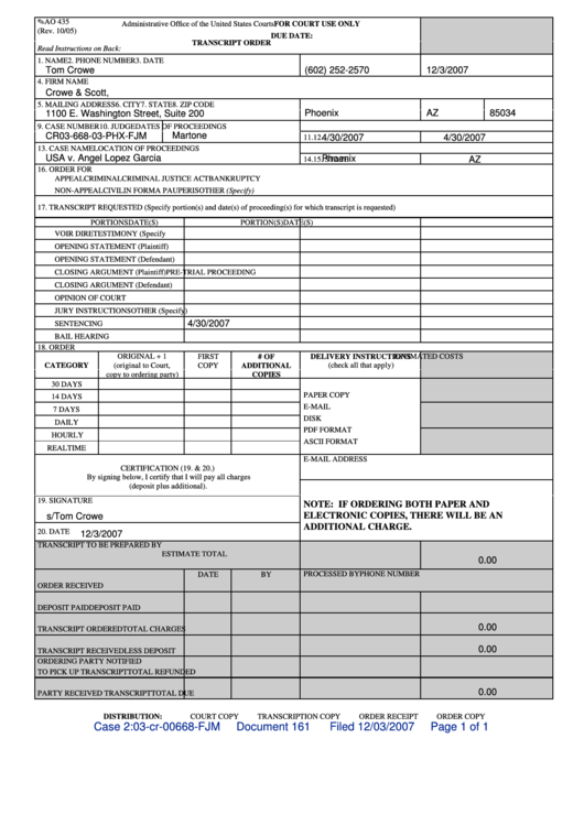 Fillable form ao 435 transcript order administrative office of the united states courts - Us courts administrative office ...