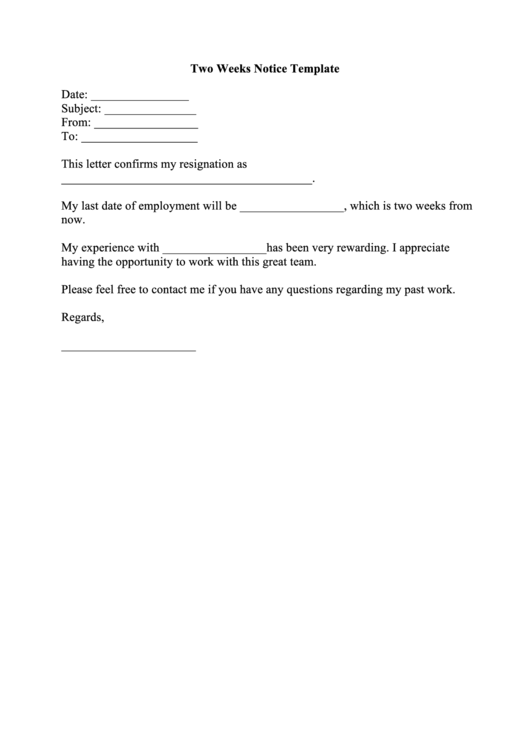 fillable two weeks notice template printable pdf download