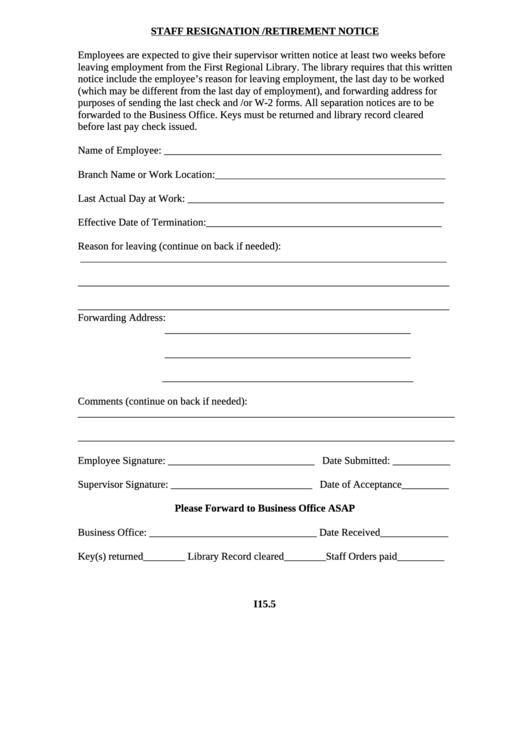 Staff Resignation/retirement Notice Form Printable pdf