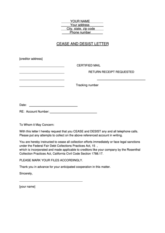 cease and desist letter template printable pdf download