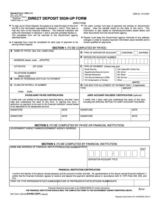 Fillable Direct Deposit Sign-Up Form Printable pdf
