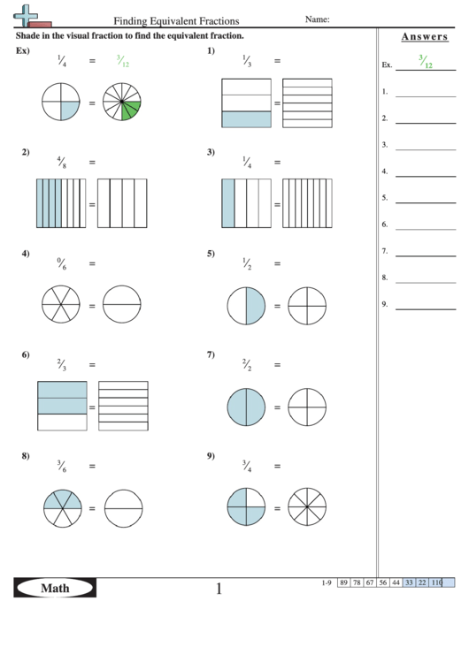 Finding Equivalent Fractions Worksheet With Answer Key ...