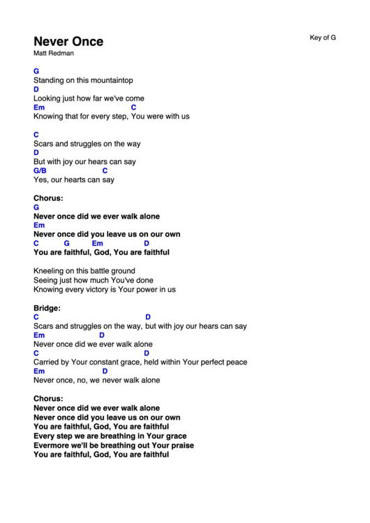 Never Once Matt Redman Hillsong Chord Charts printable pdf