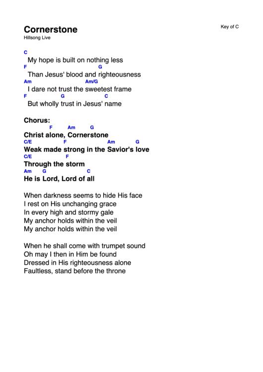 Cornerstone (Key Of C) Chord Chart printable pdf download