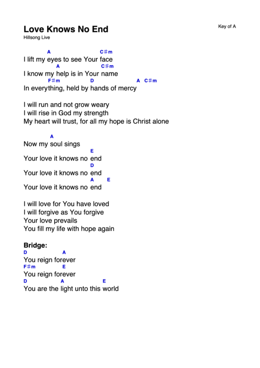 Love Knows No End - Hillsong Live - (Key Of A) Chord Chart